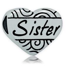 Bedels en Kralen Bedel hart sister zilver