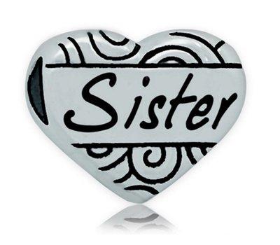 Bedels en Kralen Bedel hart sister zilver voor bedelarmbanden