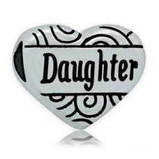 Bedels en Kralen Bedel hart daughter zilver