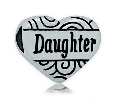 Bedels en Kralen Bedel hart  daughter zilver voor bedelarmbanden