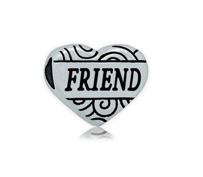Bedels en Kralen Bedel hart friend zilver voor bedelarmbanden