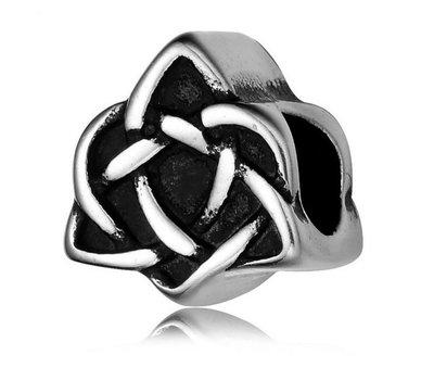 Bedels en Kralen Bedel keltisch hart zilver voor bedelarmbanden