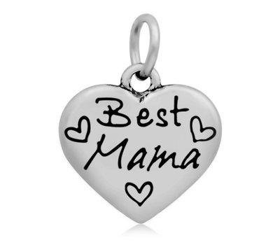 Hangende Bedels Hangende bedel Best Mama hartje zilver
