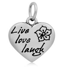Hangende Bedels Hangende bedel Live love laugh hartje zilver