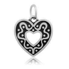 Hangende Bedels Hangende bedel heart in heart hartje zilver