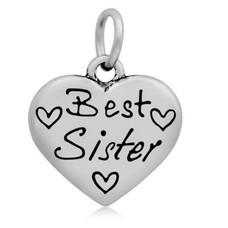 Hangende Bedels Hangende bedel Best sister hartje zilver