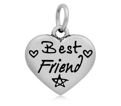 Hangende Bedels Hangende bedel Best friend hartje zilver