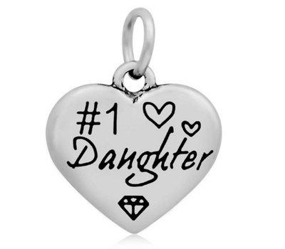 Hangende Bedels Hangende bedel nummer 1 Daughter hartje zilver