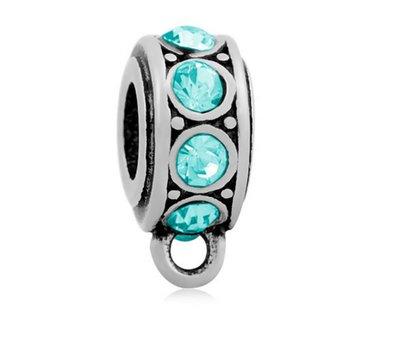 Hangende Bedels Bedel met oog kristal blauw zilver