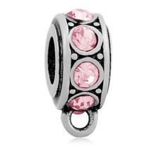 Hangende Bedels Stones bedel roze zilver met oog