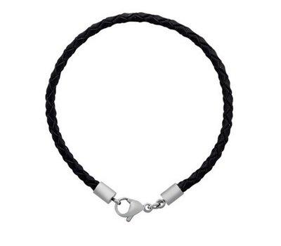 Armband voor Bedels Bedel Armband leer zwart