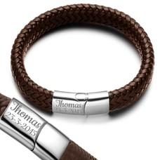 Graveer Armbanden Armband Zen met Gevlochten Leer Bruin