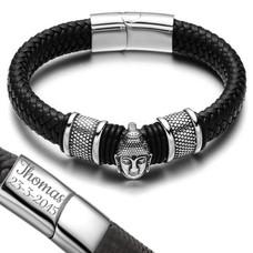 Armband met Naam Boeddha armband graveren zwart