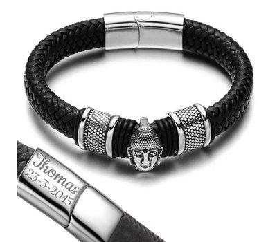 Graveer Armbanden Armband Boeddha met Gevlochten Leer Zwart