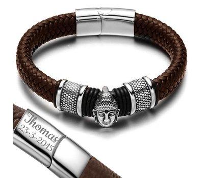 Graveer Armbanden Armband Boeddha met Gevlochten Leer Bruin