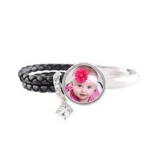 Foto Armbanden Knoop armband leer zwart deluxe met foto