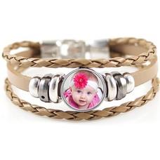 Foto Armbanden Triple armband bruin met foto