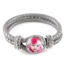 Foto Armbanden Knoop armband leer grijs met foto