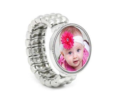 Ring met Foto Flexibele ring zilver met foto