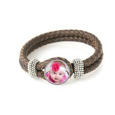 Foto Armbanden Knoop armband leer donker bruin met foto