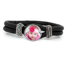 Foto Armbanden Knoop armband leer zwart met foto