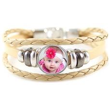 Foto Armbanden Triple armband beige met foto