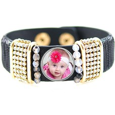Foto Armbanden Armband loveley zwart strass met foto