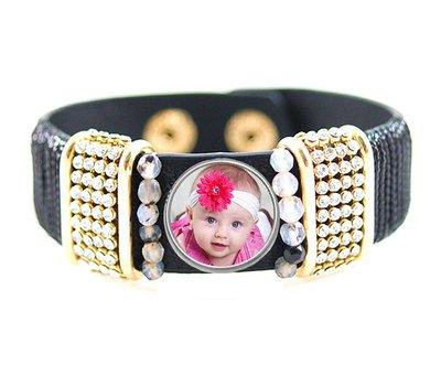 Armband met Foto Armband met Foto Zwart Strass