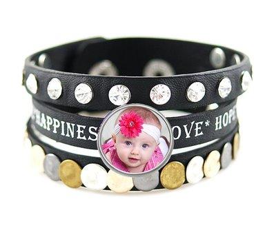 Foto Armbanden Armband leer zwart love hope happiness breed met foto