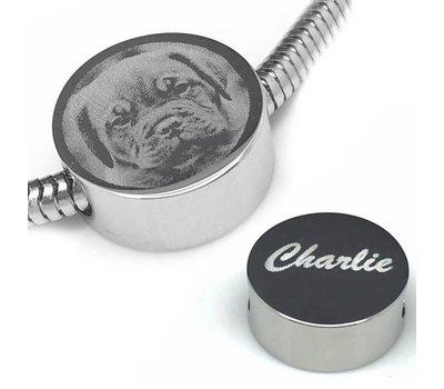 Bedels en Kralen Fotobedel rond zilver voor bedelarmband