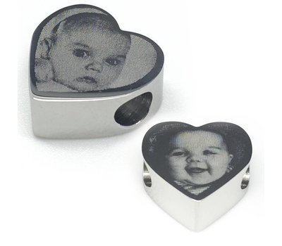 Bedels en Kralen Fotobedel hart zilver voor bedelarmband