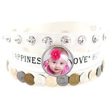 Foto Armbanden Armband leer wit love hope happiness breed met foto