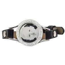 Graveer Armbanden Zwarte Leren Armband met foto graveer munt smal zilver met strass