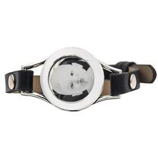 Graveer Armbanden Zwarte Leren Armband met foto graveer munt smal zilver