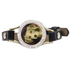 Graveer Armbanden Zwarte Leren Armband met foto graveer munt smal goud met strass