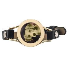 Graveer Armbanden Zwarte Leren Armband met foto graveer munt smal goud
