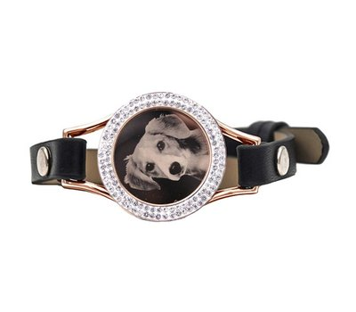 Graveer Armbanden Zwarte Leren Armband met foto graveer munt smal rosé goud met strass