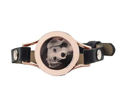 Graveer Armbanden Zwarte Leren Armband met foto graveer munt smal rosé goud
