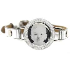 Graveer Armbanden Grijze Leren Armband met foto graveer munt smal zilver met strass