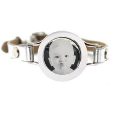 Graveer Armbanden Grijze Leren Armband met foto graveer munt smal zilver