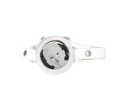 Graveer Armbanden Witte Leren Armband met foto graveer munt smal zilver