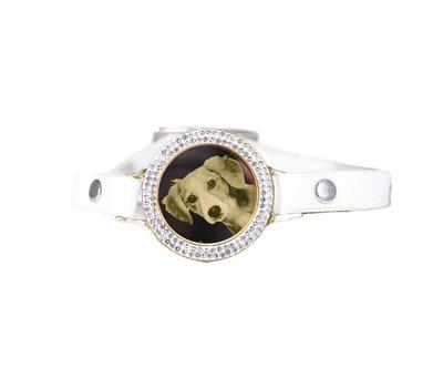 Graveer Armbanden Witte Leren Armband met foto graveer munt smal goud met strass