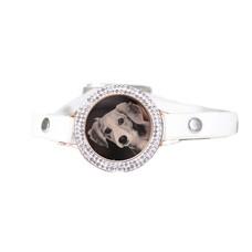 Graveer Armbanden Witte Leren Armband met foto graveer munt smal rosé goud met strass