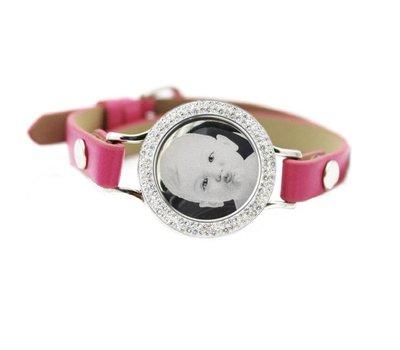 Graveer Armbanden Roze Leren Armband met foto graveer munt smal zilver met strass