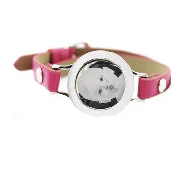 Graveer Armbanden Roze Leren Armband met foto graveer munt smal zilver