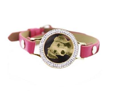 Graveer Armbanden Roze Leren Armband met foto graveer munt smal goud met strass