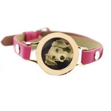 Graveer Armbanden Roze Leren Armband met foto graveer munt smal goud