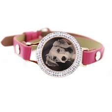 Graveer Armbanden Roze Leren Armband met foto graveer munt smal rosé goud met strass