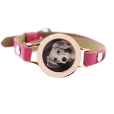 Graveer Armbanden Roze Leren Armband met foto graveer munt smal rosé goud