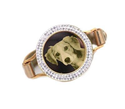 Graveer Armbanden Gouden Leren Armband met foto graveer munt smal goud met strass